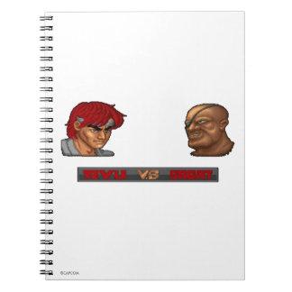 Ryu contra Sagat Spiral Notebook