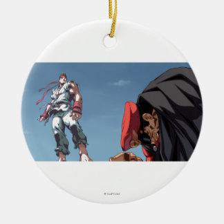 Ryu Defeat Bison Double-Sided Ceramic Round Christmas Ornament