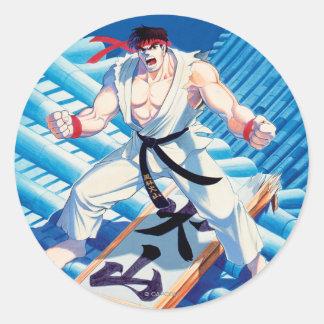 Ryu on Roof Round Sticker