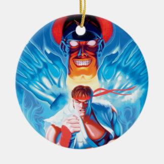 Ryu Versus Bison Ceramic Ornament