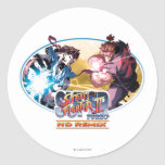 Ryu Vs Akuma Round Sticker