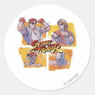 Ryu Vs Ken & Adon Vs Sagat Classic Round Sticker