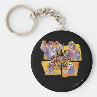 Ryu Vs Ken & Adon Vs Sagat Basic Round Button Keychain