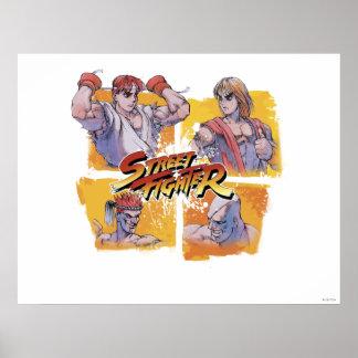 Ryu Vs Ken & Adon Vs Sagat Print