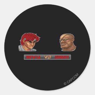 Ryu Vs Sagat Classic Round Sticker
