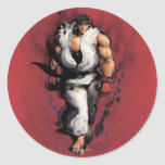 Ryu Walking Round Stickers