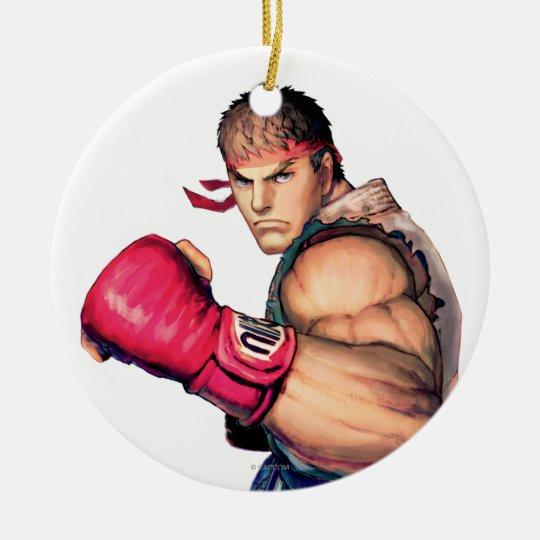 Ryu with Fist Raised Ceramic Ornament