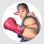 Ryu with Fist Raised Classic Round Sticker