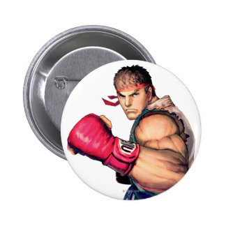 Ryu with Fist Raised Pinback Button