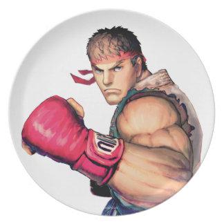 Ryu with Fist Raised Dinner Plate