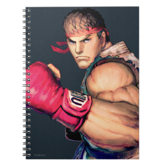 Ryu with Fist Raised Spiral Notebook