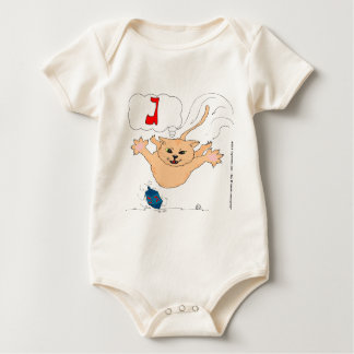 s10 Cat pouncing on Hanukkah Dradle (gimel) Baby Bodysuit