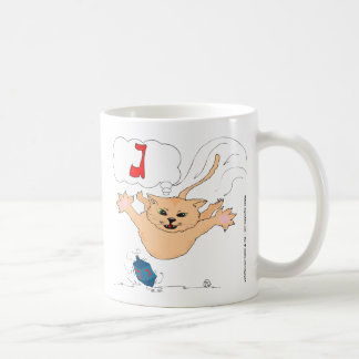 s10 Cat pouncing on Hanukkah Dradle (gimel) Classic White Coffee Mug