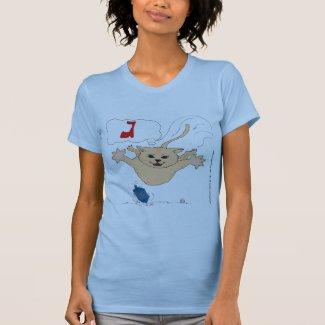s10 Cat pouncing on Hanukkah Dradle (gimel) T-Shirt