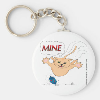 s11 Cat Pouncing on Hanukkah Dradle Basic Round Button Keychain