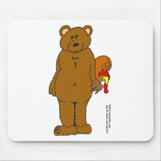 s12 Thanksgiving turkey hiding behind bear Mouse Pad