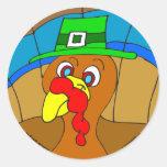 s13 Thanksgiving Turkey Friend with hat Classic Round Sticker