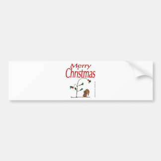 s14 Christmas Squirrel and Humble Christmas Tree Bumper Stickers