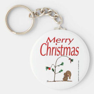 s14 Christmas Squirrel and Humble Christmas Tree Basic Round Button Keychain