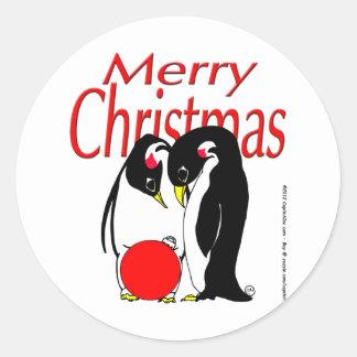 s17 Christmas Penguins Classic Round Sticker