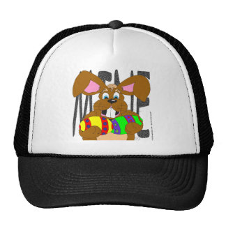 "s6 Easter bunny holding eggs saying ""MINE"" cartoon Hats"