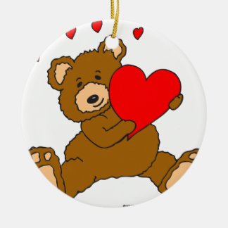 s7 Valentine Heart Bear Ceramic Ornament
