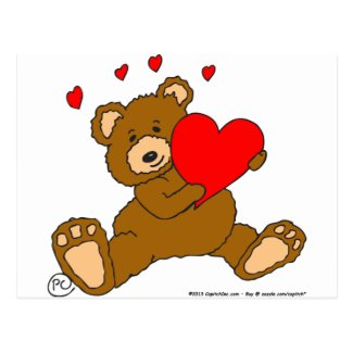 s7 Valentine Heart Bear Postcard