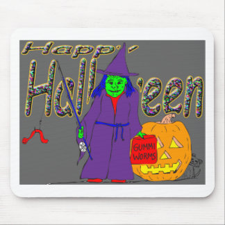 s8 Halloween witch fishing with gummi worms Mouse Pad