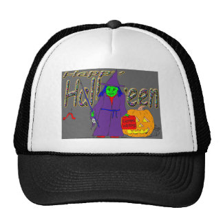 s8 Halloween witch fishing with gummi worms Trucker Hat