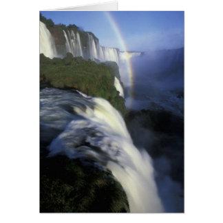 S.A., Brazil, Iguassu Falls Falls with rainbow Card