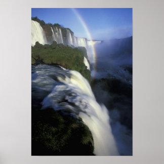 S.A., Brazil, Iguassu Falls Falls with rainbow Poster