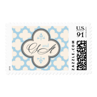 S and A monogram with quatrefoil in blue and grey Postage