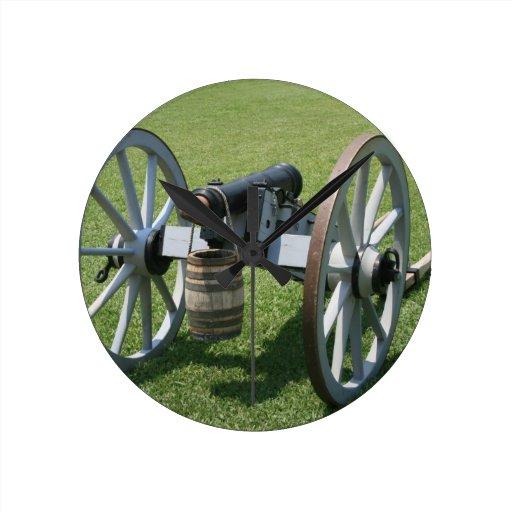 S. Augustine Fort canon II against grass Round Wallclocks