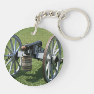 S. Augustine Fort canon II against grass Double-Sided Round Acrylic Keychain