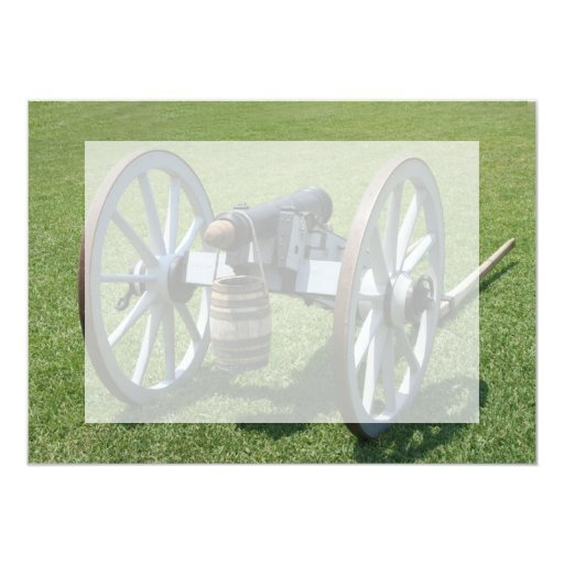 S. Augustine Fort canon II against grass 5x7 Paper Invitation Card