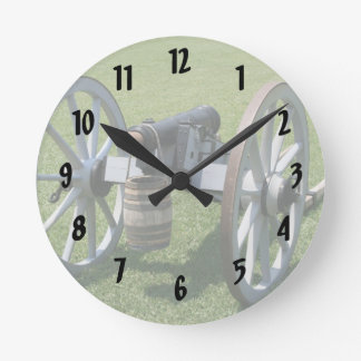 S. Augustine Fort canon II against grass Round Clock