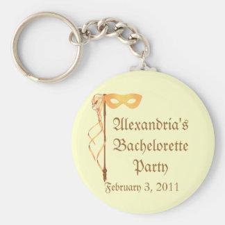 """_____'s Bachelorette Party"" - Masquerade Theme Basic Round Button Keychain"