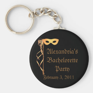 """_____'s Bachelorette Party"" - Masquerade Theme Basic Round Button Keychain"