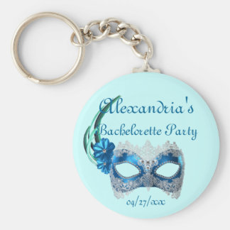 """____'s Bachelorette Party"" - Turquoise Mask Basic Round Button Keychain"