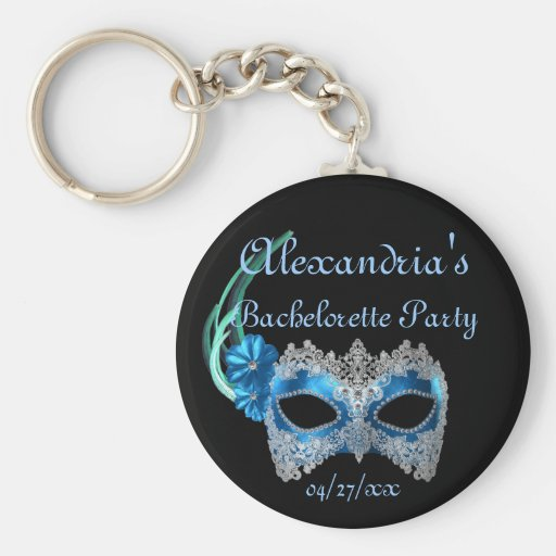 """""""____'s Bachelorette Party"""" - Turquoise Mask Keychain"""