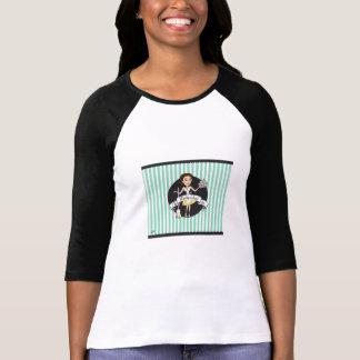 (S) Black Ladies 3/4 Sleeve Raglan (Fitted) T-Shirt