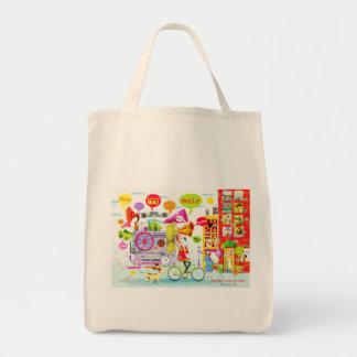 """s.Britt """"Hello!"""" Grocery Tote Tote Bag"""