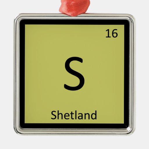 S - Caballo de la química de la tabla periódica de Adorno De Navidad