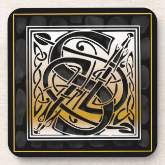 'S' Celtic Black Stone Monogram Coasters