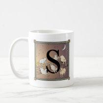 "S- Counting Sheep Letterblock Mug- the Letter ""S"" Coffee Mug"