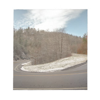 s-curve winding road in mountains notepad