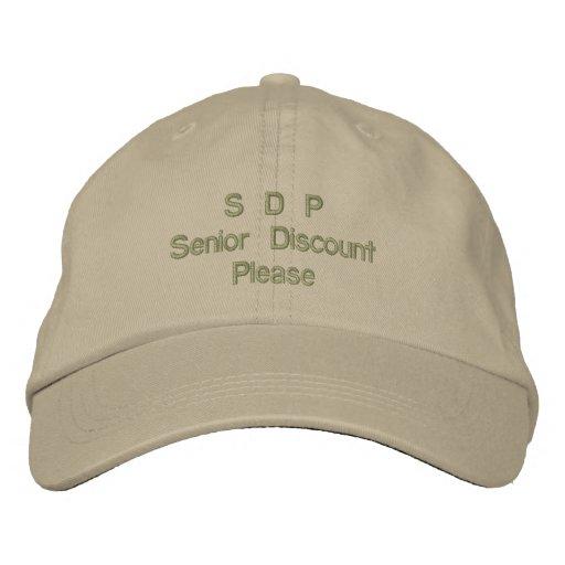 S D P Senior Discount Please Cap