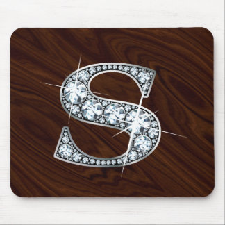 """S """"Diamond Bling"""" and Cherrywood Mousepad"""