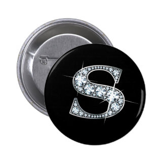 """S"" Diamond Bling Button"