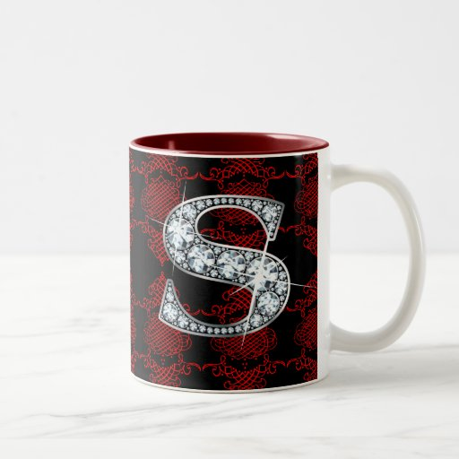"""S"" Diamond Bling on Knotted Damask Mug"